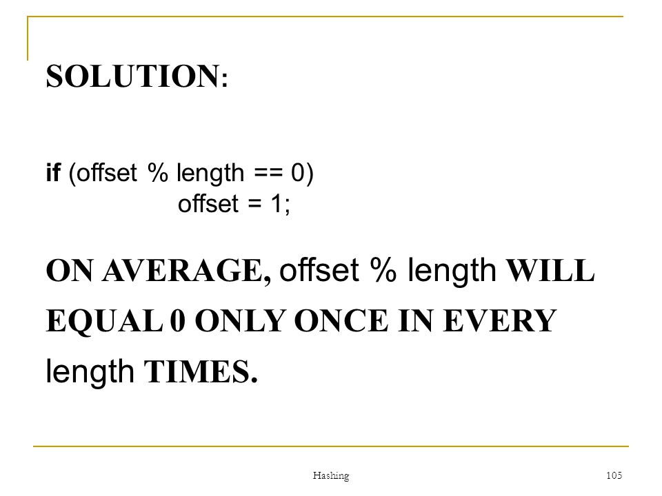 ON AVERAGE, offset % length WILL EQUAL 0 ONLY ONCE IN EVERY