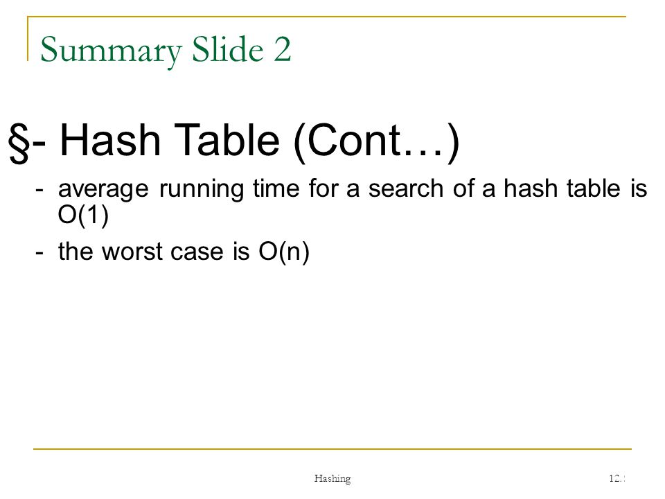 §- Hash Table (Cont…) Summary Slide 2