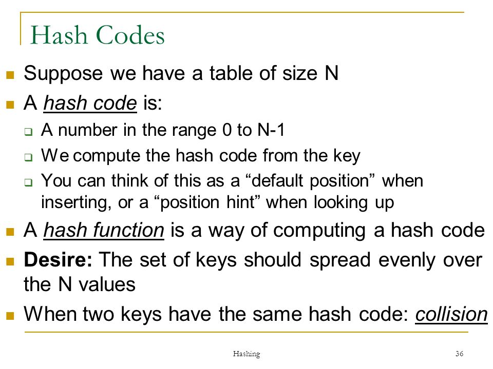 Hash Codes Suppose we have a table of size N A hash code is: