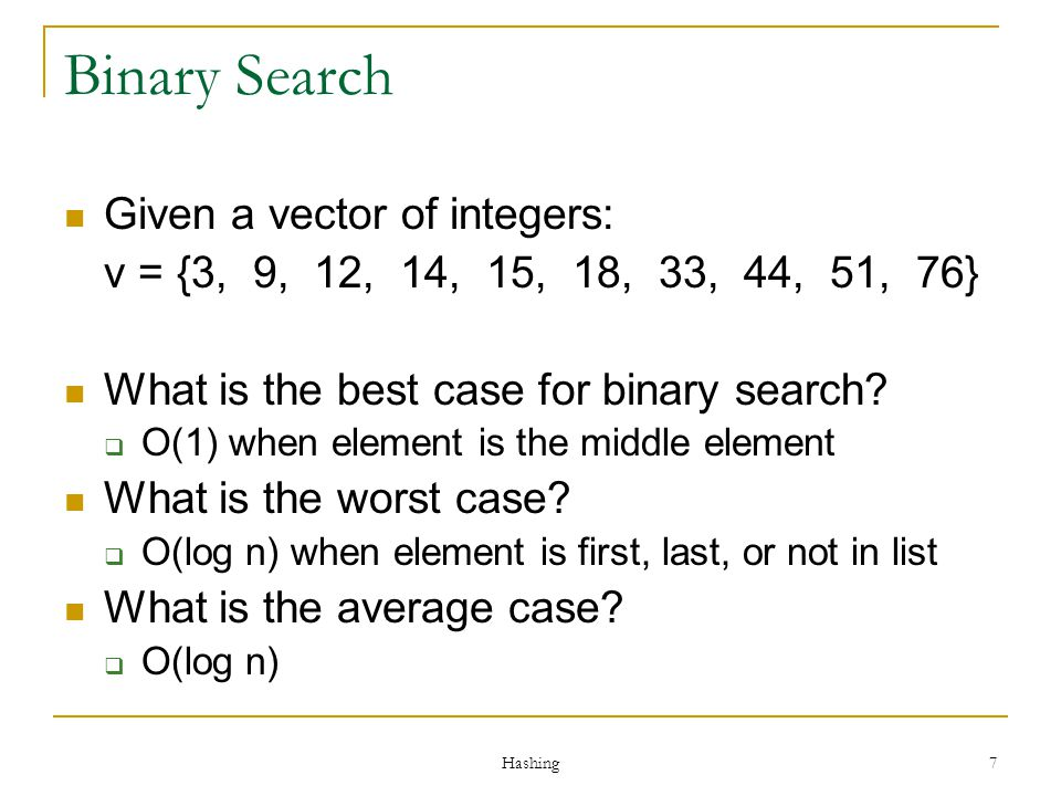 Binary Search Given a vector of integers: