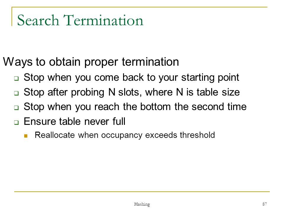 Search Termination Ways to obtain proper termination