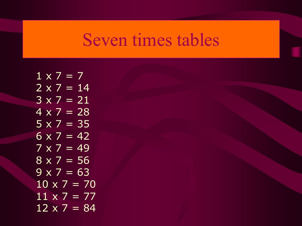 Seven times tables