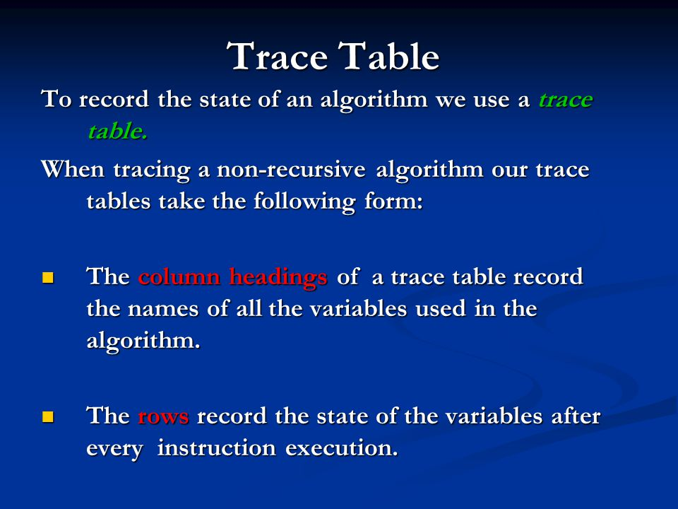 Trace Table To record the state of an algorithm we use a trace table.