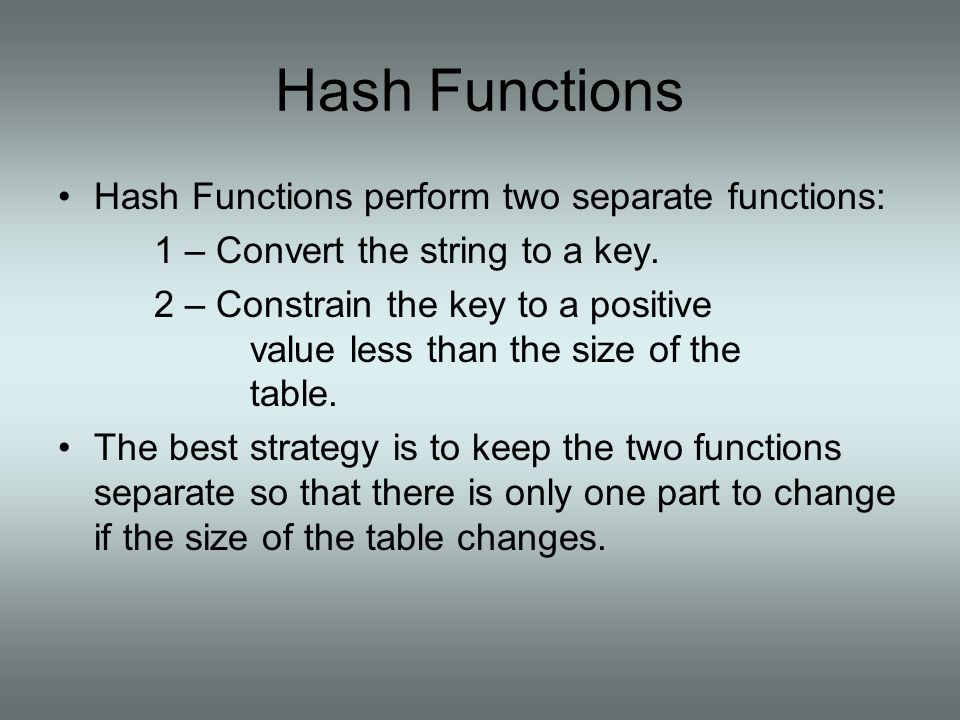 Hash Functions Hash Functions perform two separate functions: