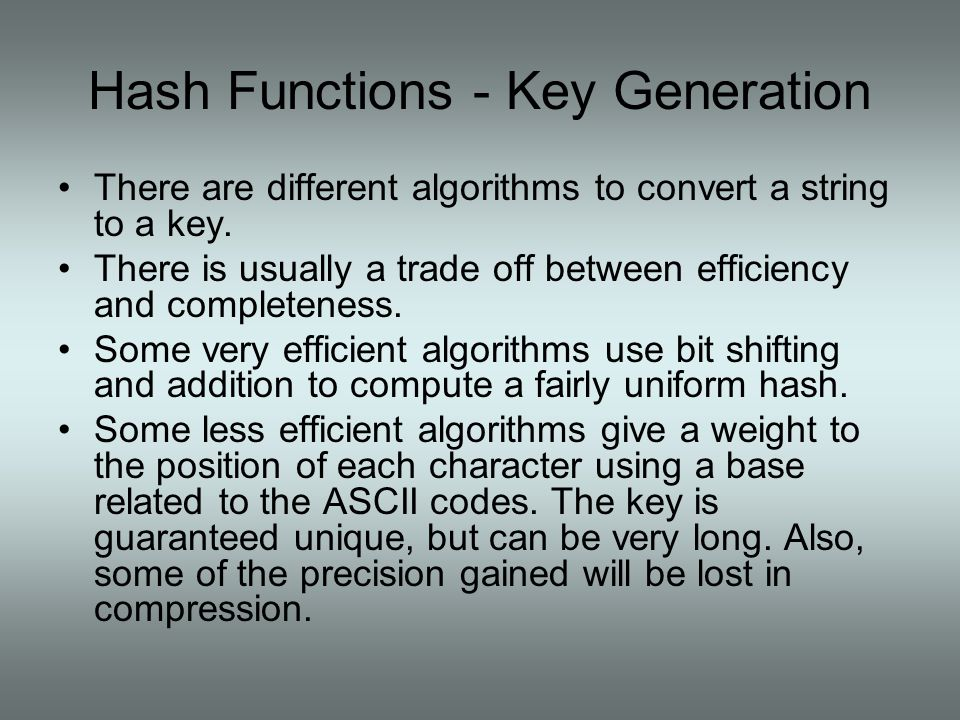 Hash Functions - Key Generation