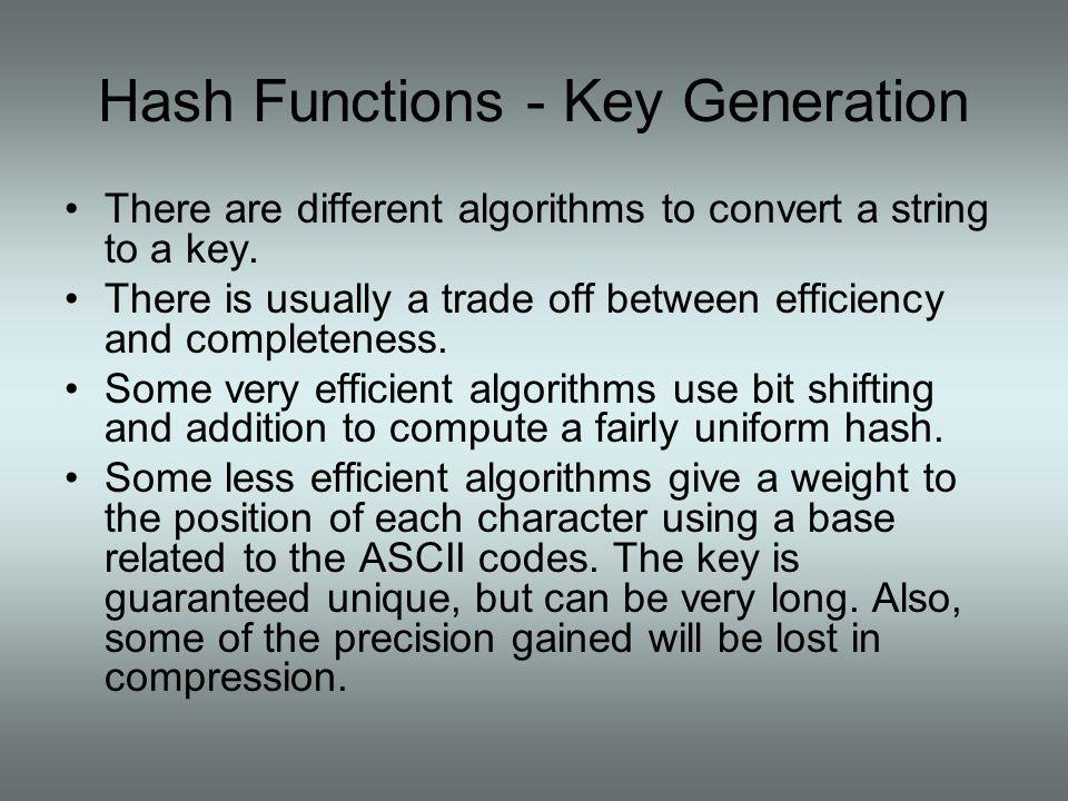 Hash Functions - Key Generation