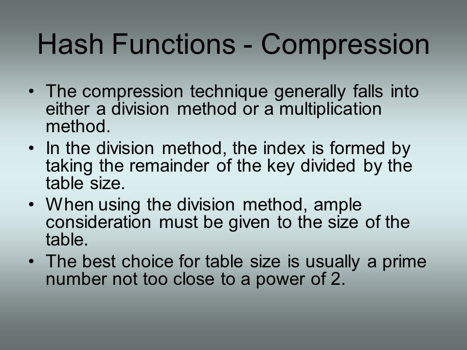Hash Functions - Compression