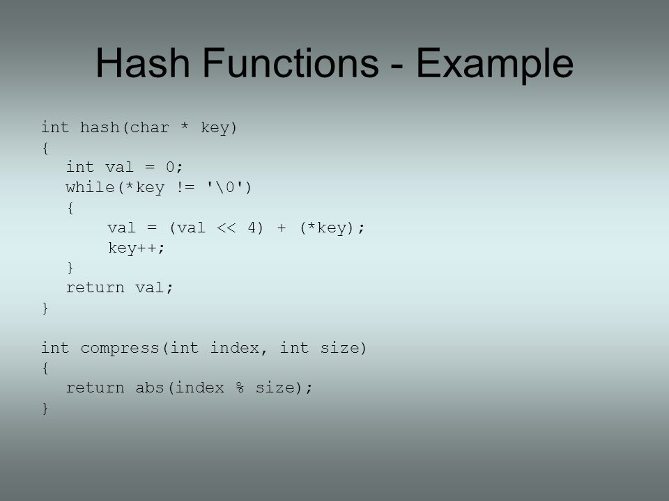 Hash Functions - Example