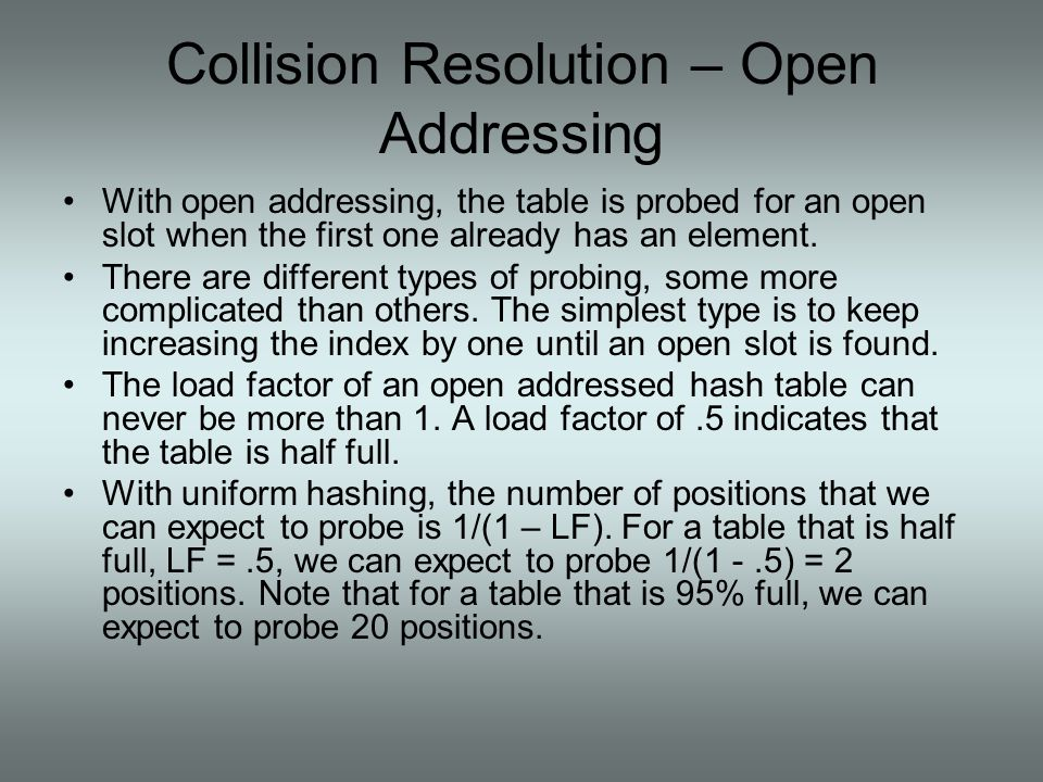 Collision Resolution – Open Addressing