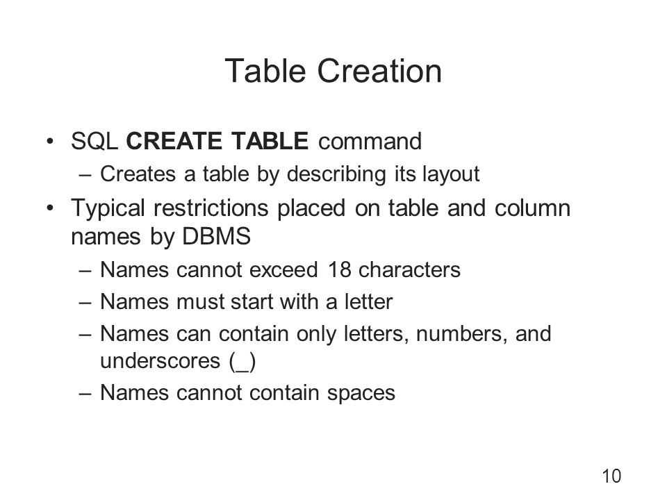 Table Creation SQL CREATE TABLE command