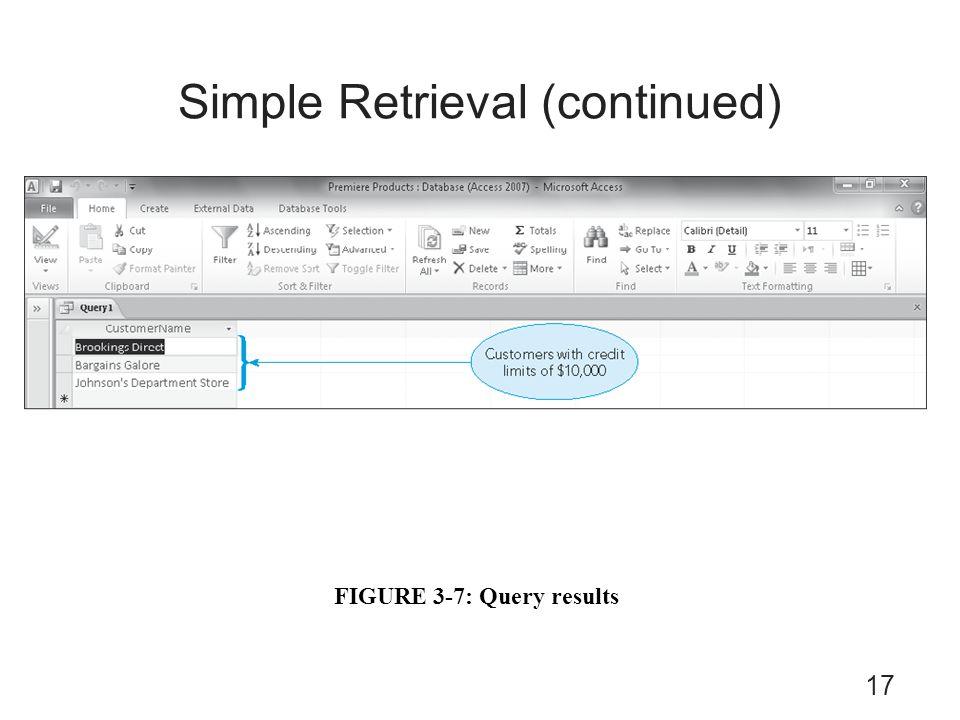Simple Retrieval (continued)