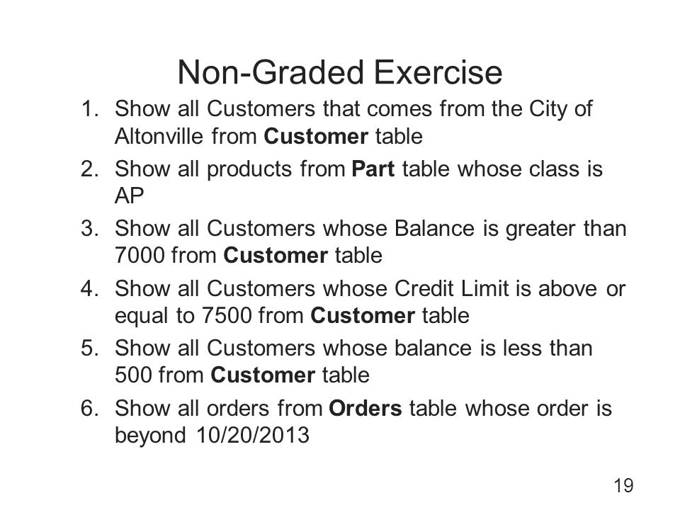 Non-Graded Exercise Show all Customers that comes from the City of Altonville from Customer table.