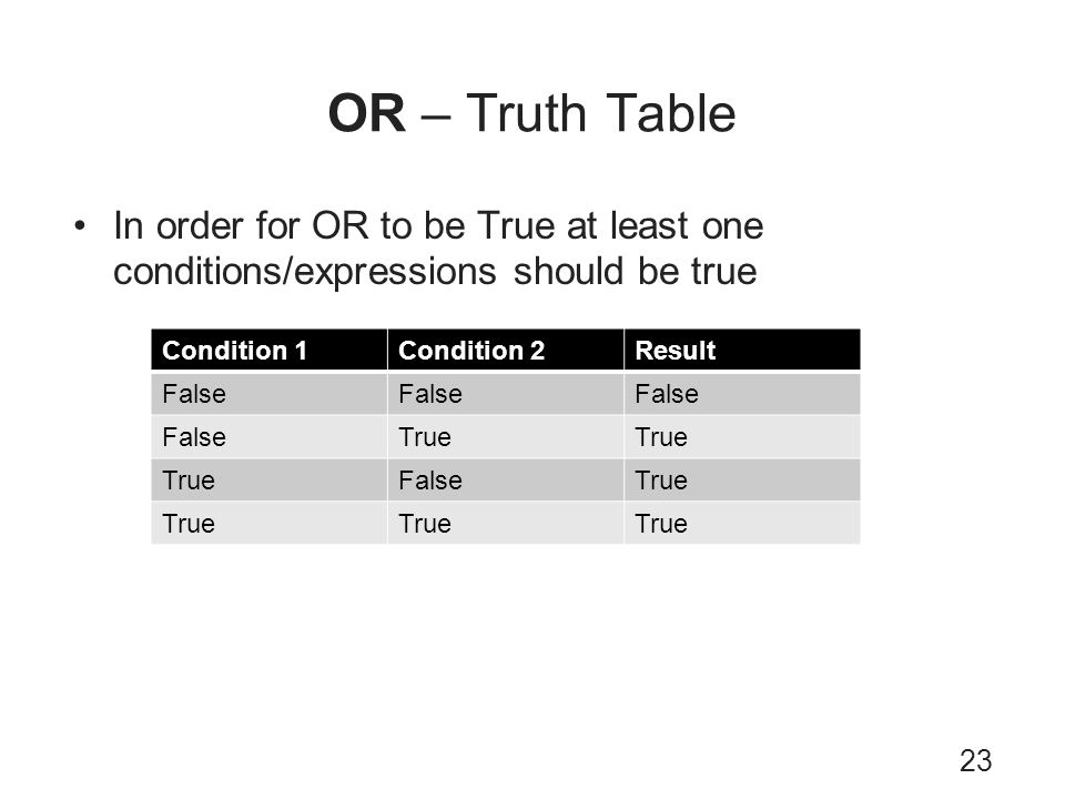 OR – Truth Table In order for OR to be True at least one conditions/expressions should be true. Condition 1.