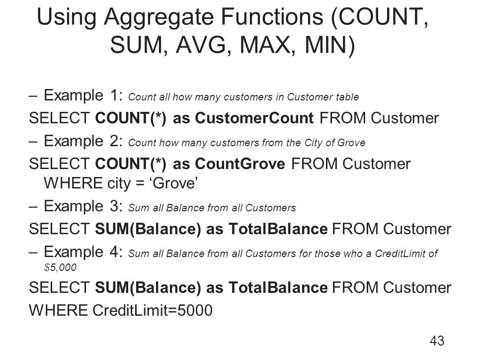 Using Aggregate Functions (COUNT, SUM, AVG, MAX, MIN)