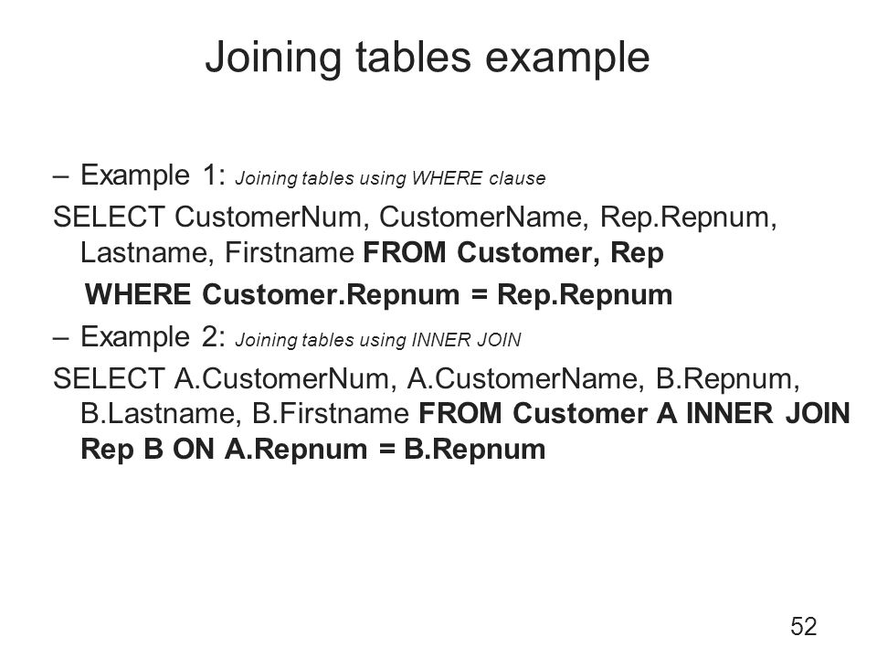 Joining tables example