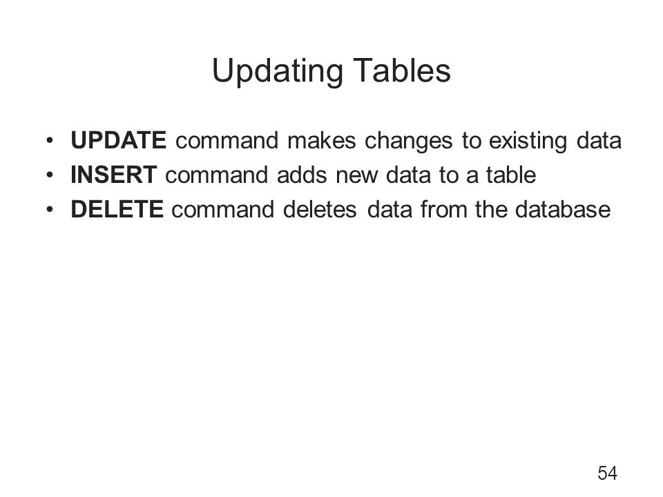 Updating Tables UPDATE command makes changes to existing data