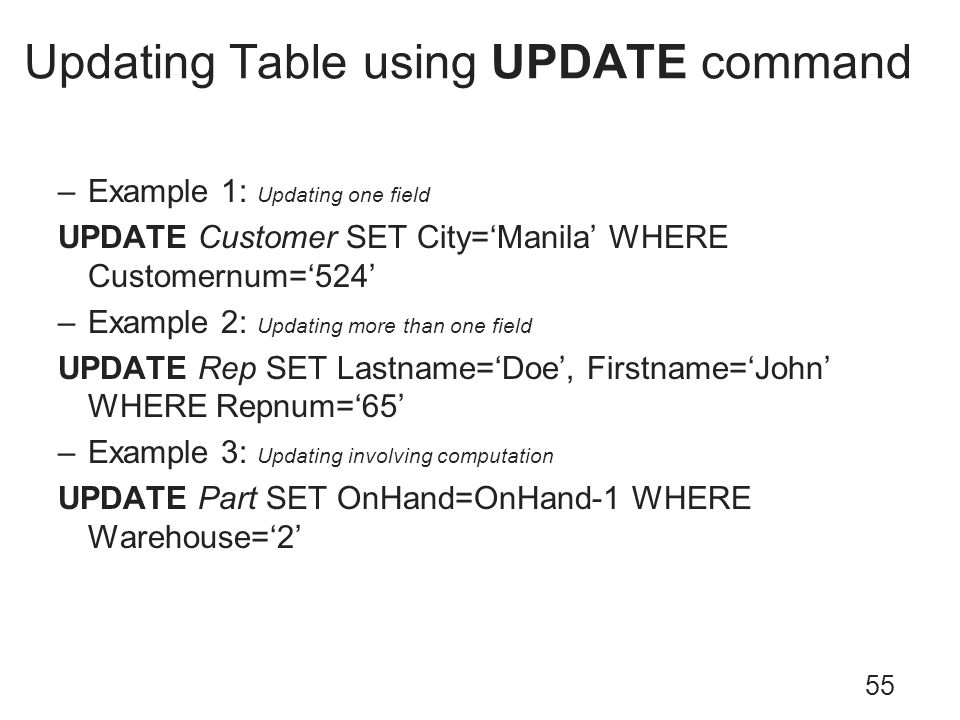 Updating Table using UPDATE command