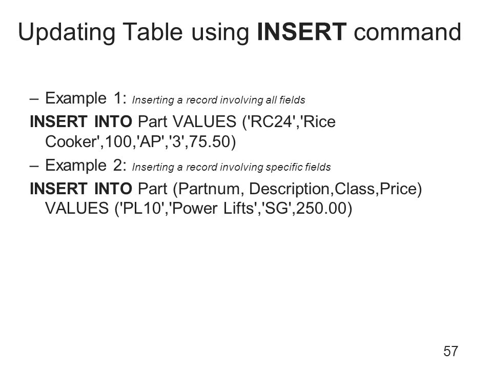 Updating Table using INSERT command