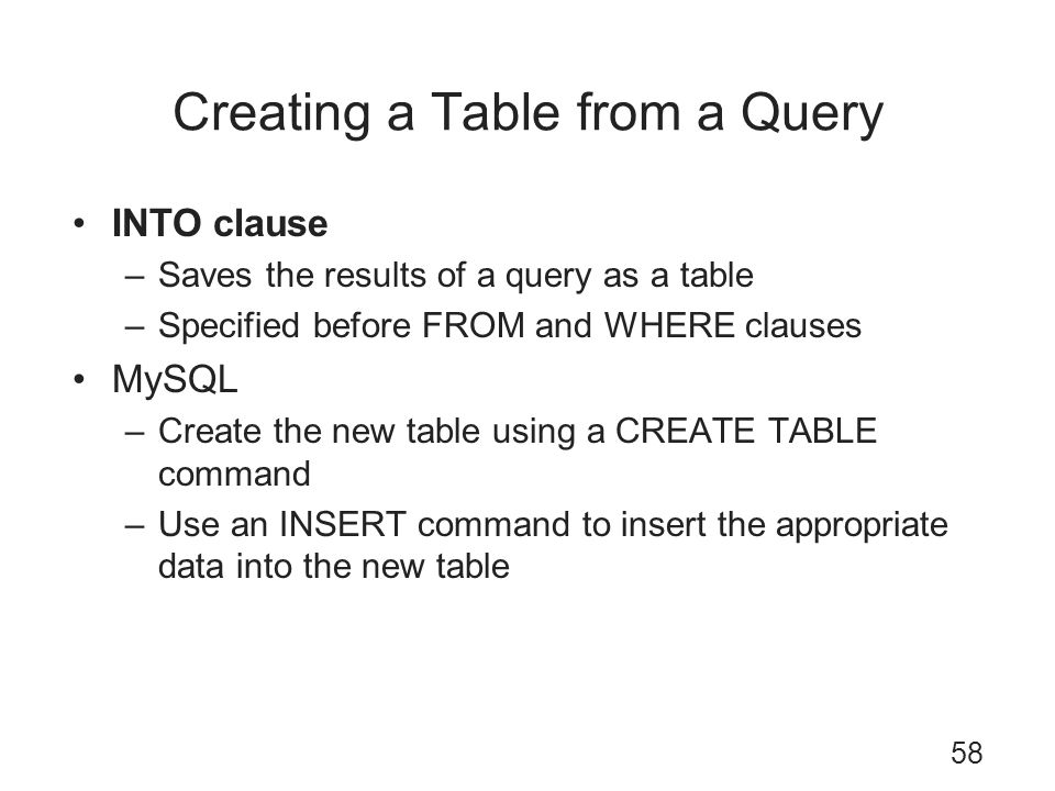 Creating a Table from a Query