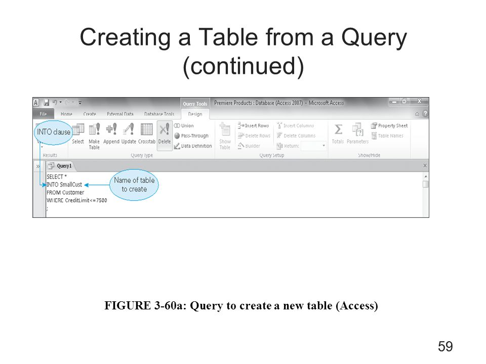 Creating a Table from a Query (continued)