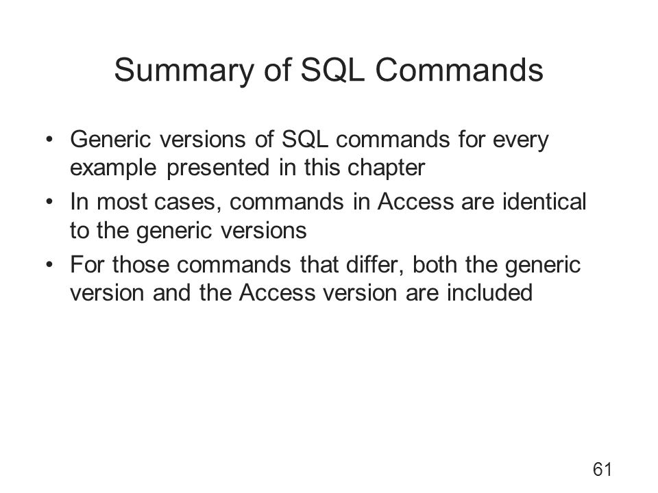 Summary of SQL Commands
