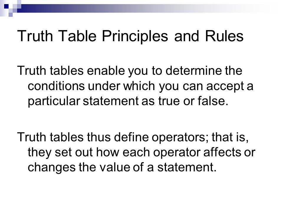 Truth Table Principles and Rules