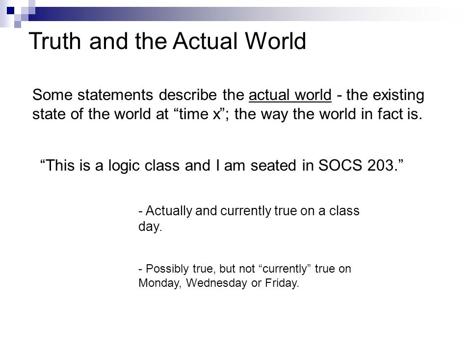 Truth and the Actual World