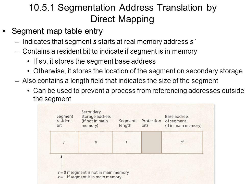 10.5.1 Segmentation Address Translation by Direct Mapping