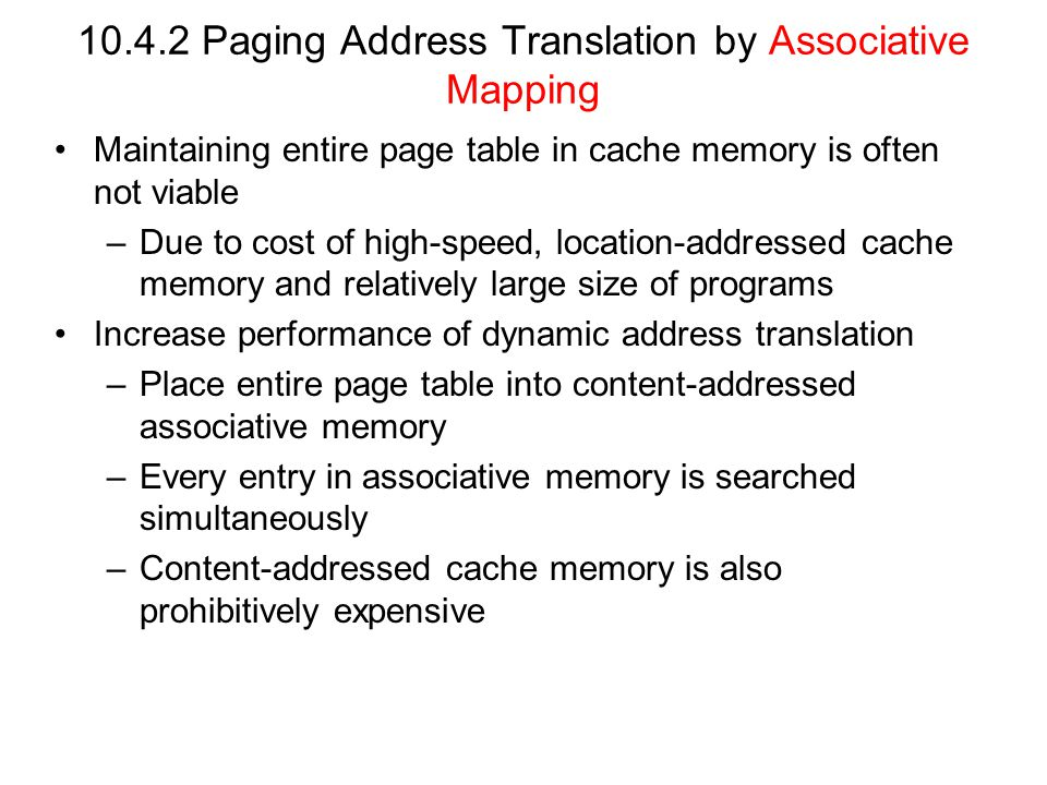 Paging Address Translation by Associative Mapping
