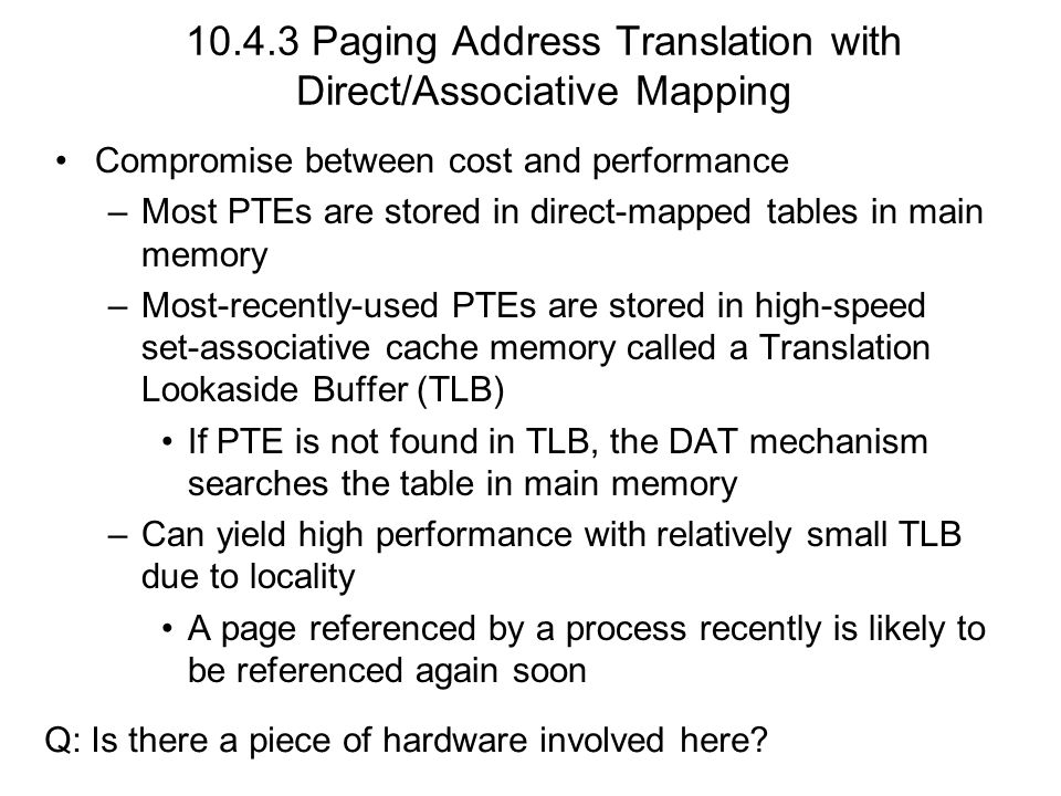 Paging Address Translation with Direct/Associative Mapping