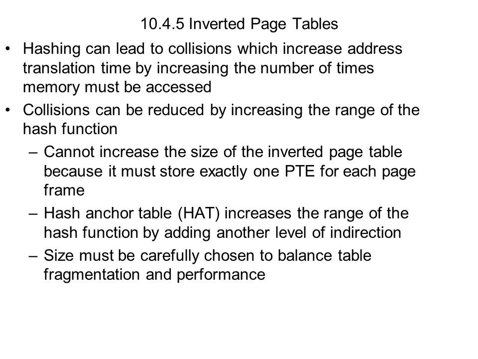 10.4.5 Inverted Page Tables