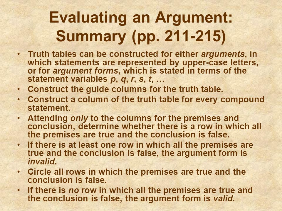 Evaluating an Argument: Summary (pp )