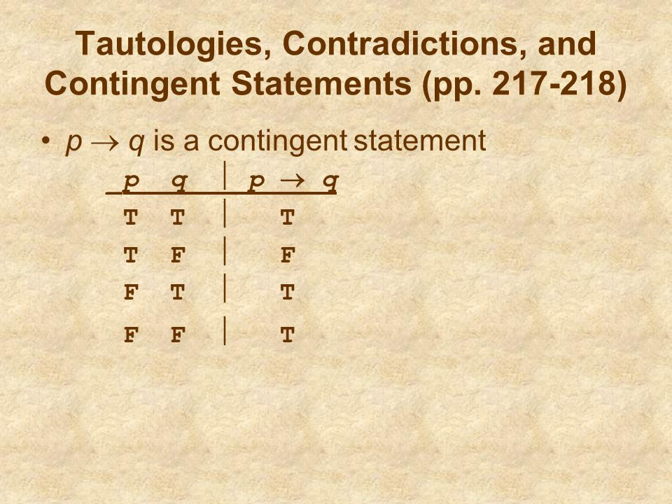 Tautologies, Contradictions, and Contingent Statements (pp )