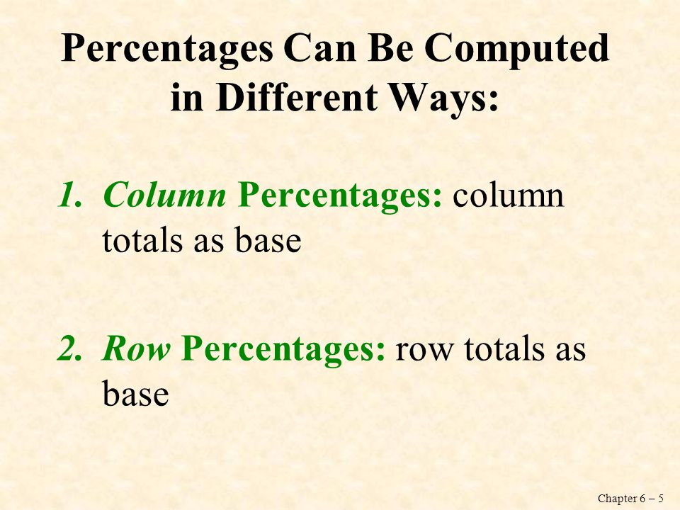 Percentages Can Be Computed in Different Ways: