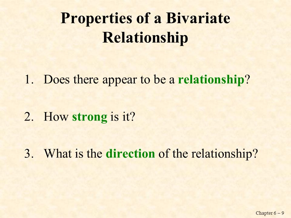 Properties of a Bivariate Relationship