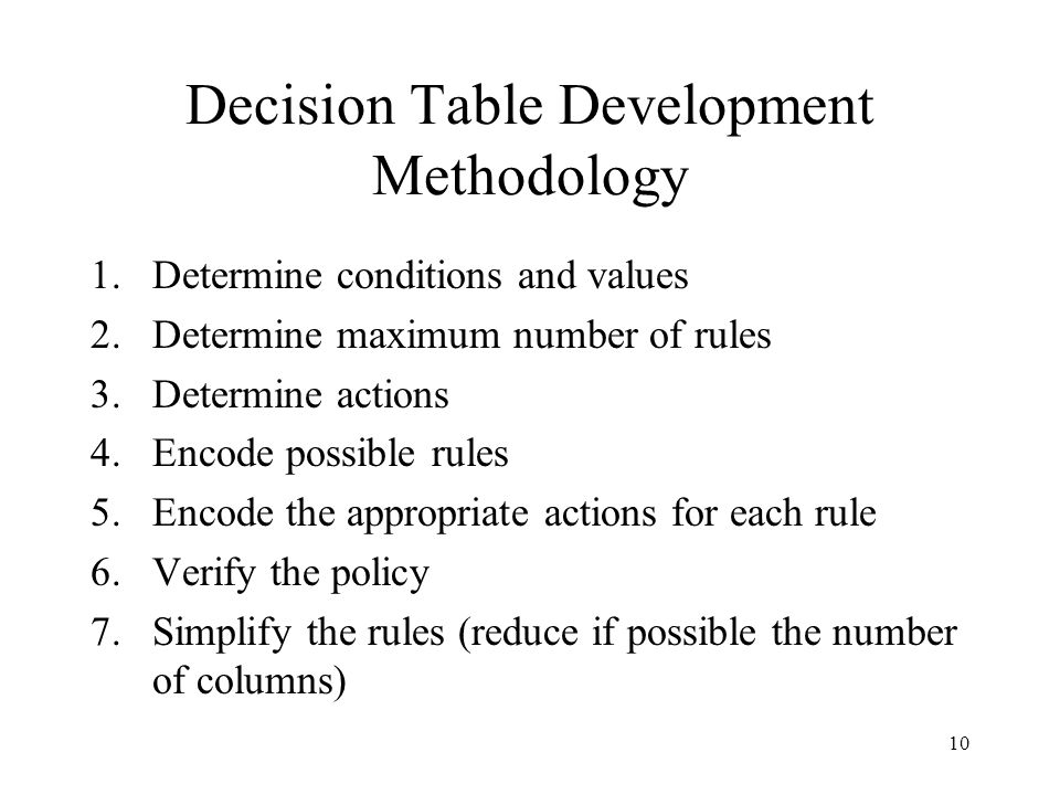 Decision Table Development Methodology