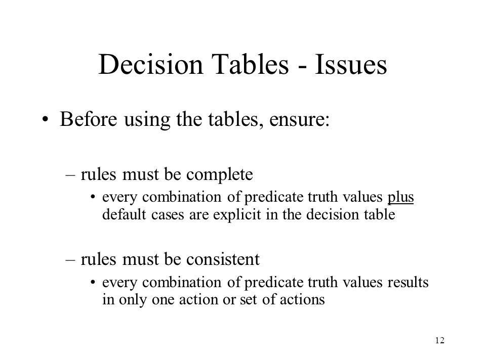 Decision Tables - Issues