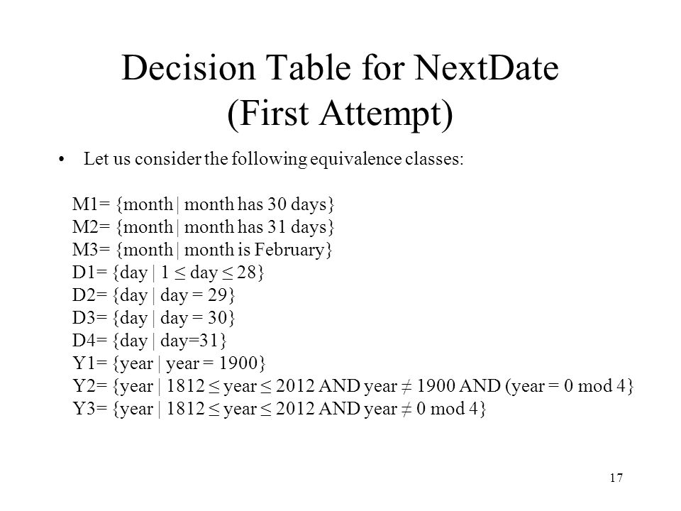 Decision Table for NextDate (First Attempt)
