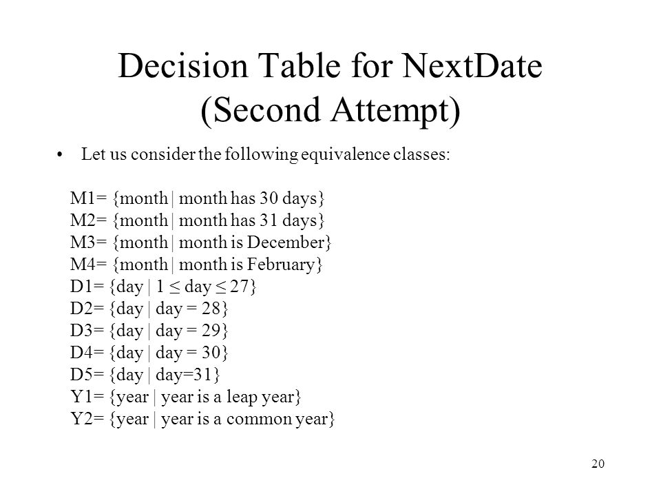 Decision Table for NextDate (Second Attempt)