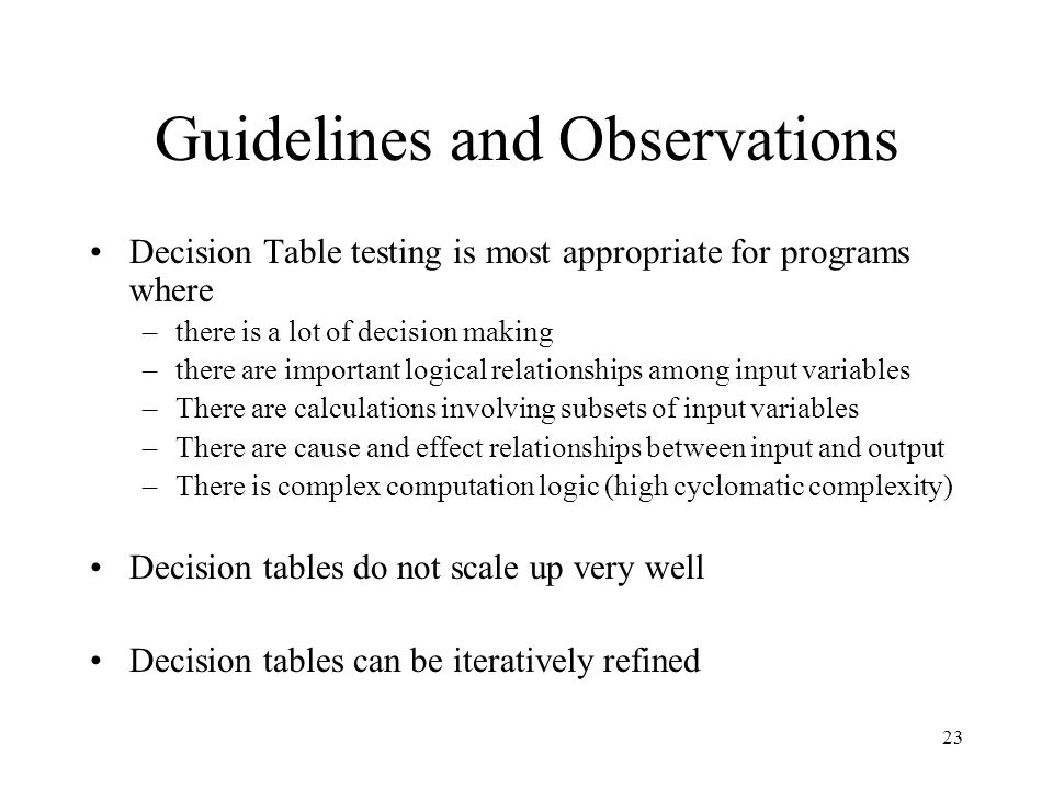 Guidelines and Observations