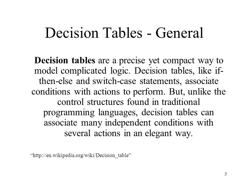 Decision Tables - General