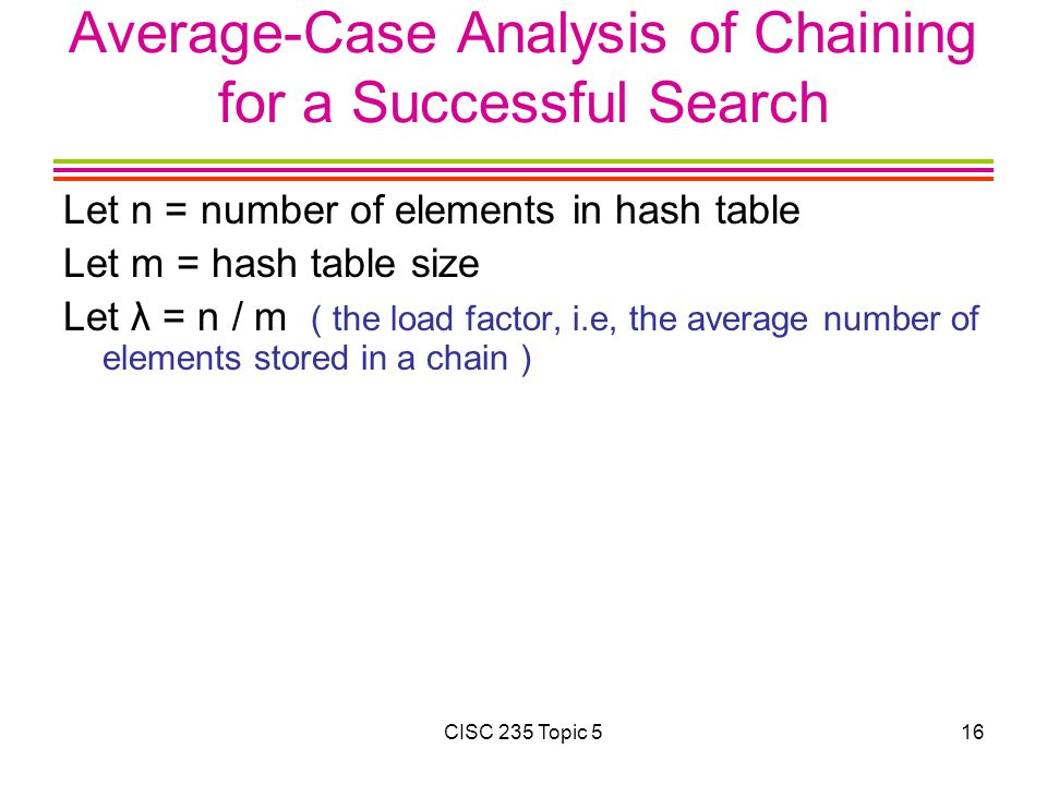 Average-Case Analysis of Chaining for a Successful Search