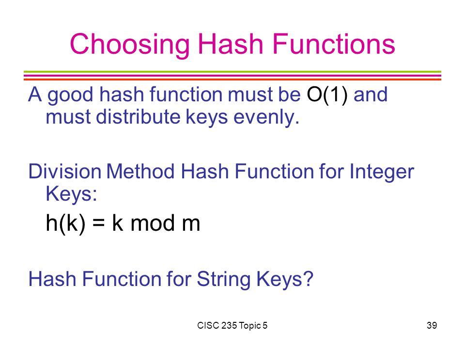 Choosing Hash Functions