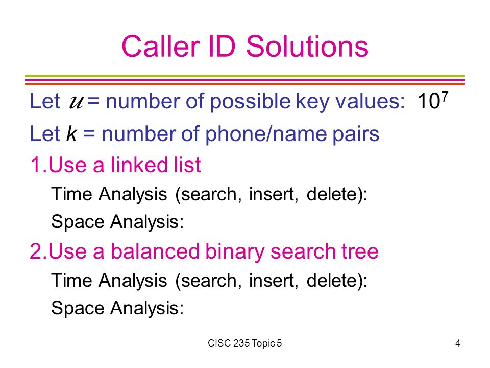 Caller ID Solutions Let u = number of possible key values: 107