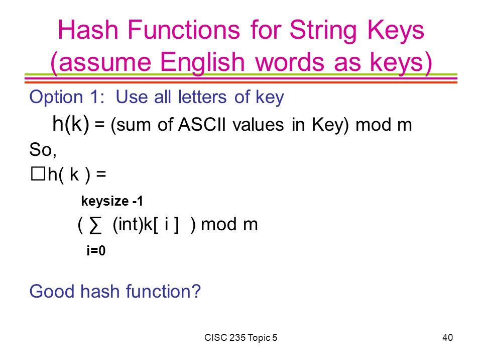 Hash Functions for String Keys (assume English words as keys)