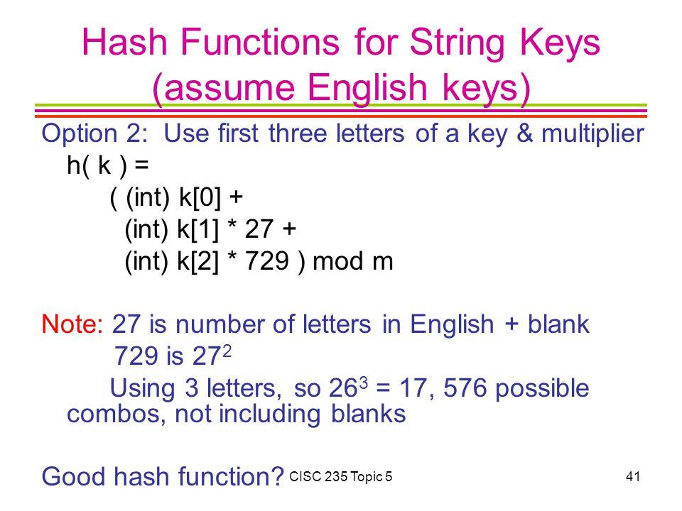 Hash Functions for String Keys (assume English keys)