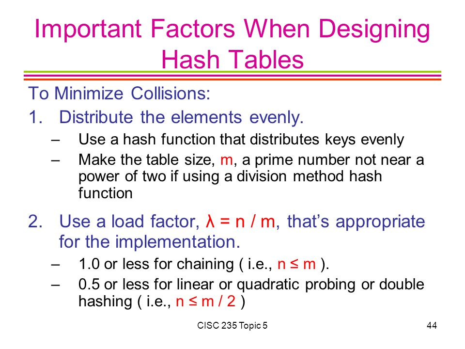 Important Factors When Designing Hash Tables