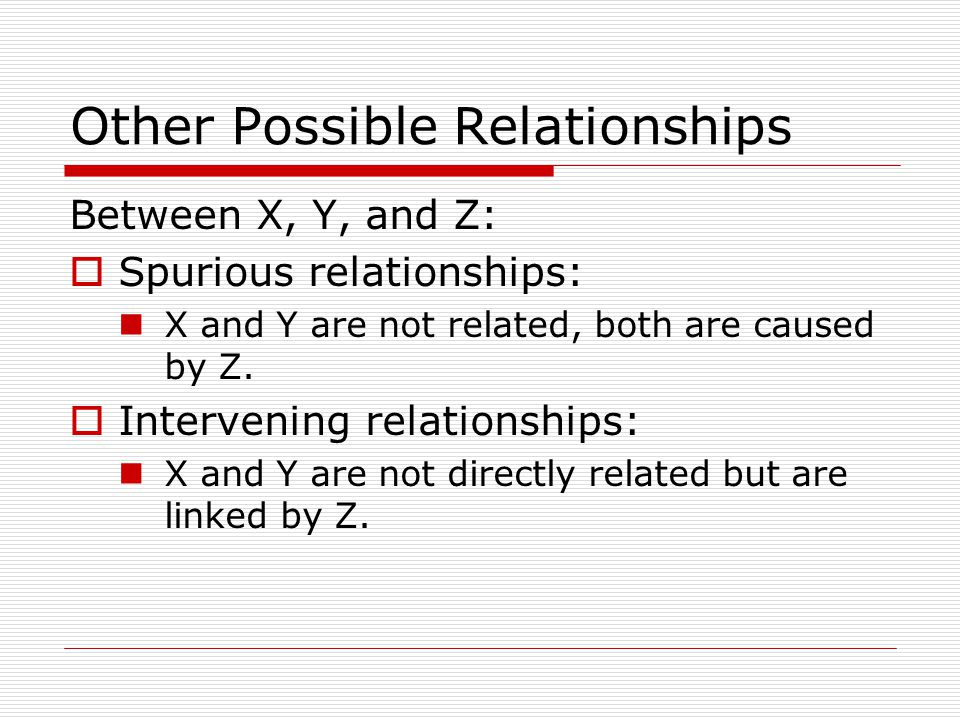Other Possible Relationships