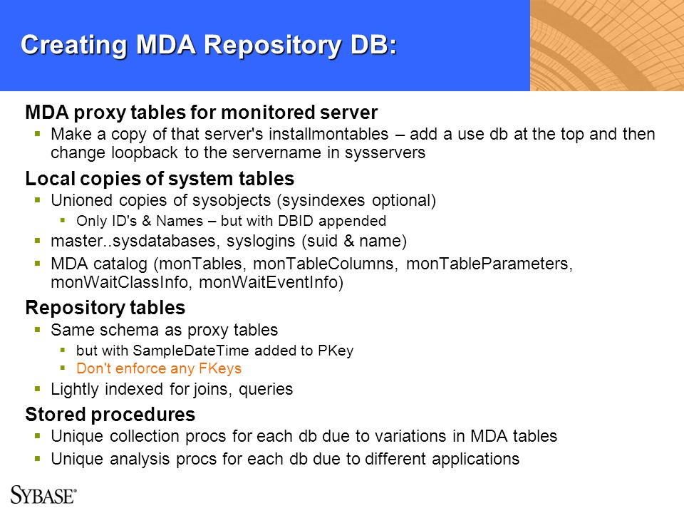 Creating MDA Repository DB: