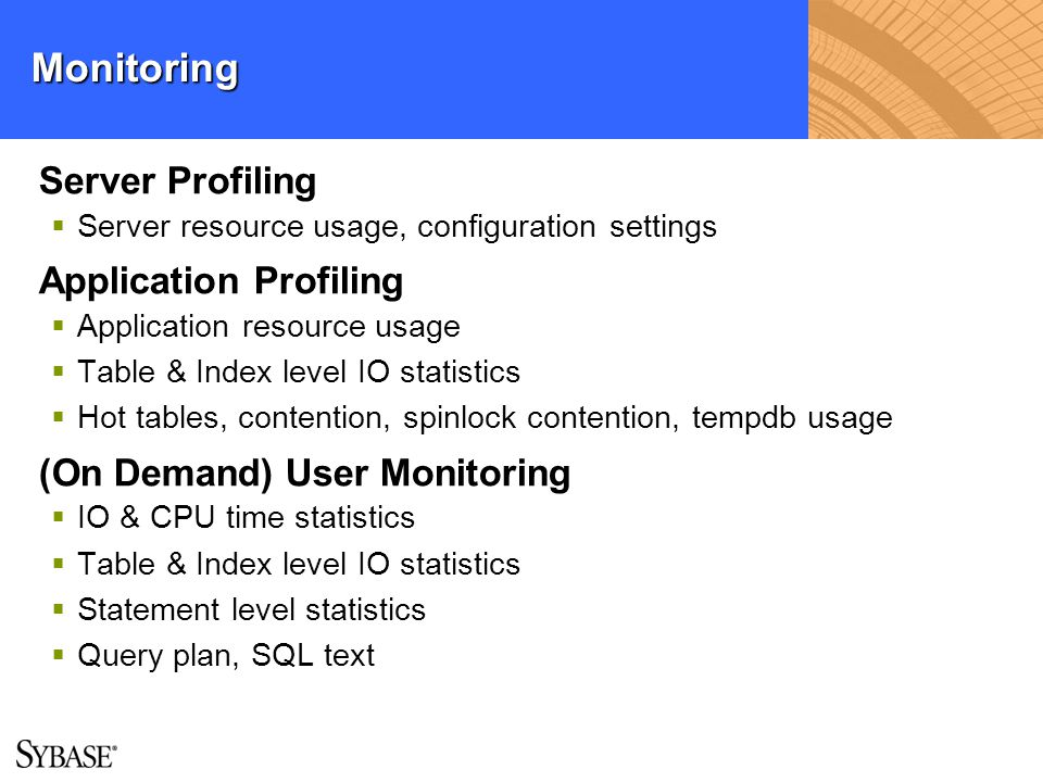 Monitoring Server Profiling Application Profiling